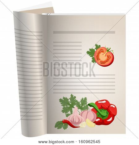 Template pages of a cookbook. You can have there favorite recipes. A piece of tomato with herbs. Set for gazpacho ingredients. Pepper and garlic, spicy seasonings. The template for the layout of text recipes.