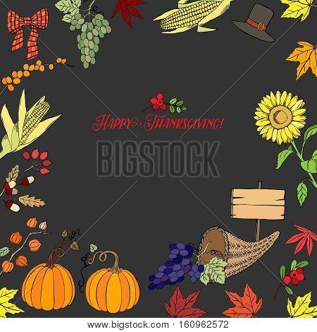 Thanksgiving day. Background with hand drawn elements. Pumpkin, turkey, harvest, sunflower, autumn. Vector Illustration