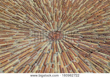 Cobble Concentric Mosaic, Patterned Floor Walkway In The Park