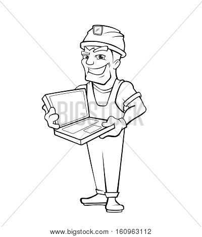 Chef construction engineer man. Builder with laptop, helmet. Isolated on white background. Linear style. People character.