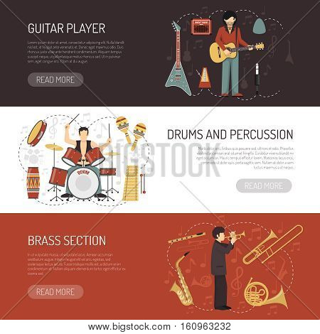 Musicians horizontal banners  with different musical Instruments so as drums percussion guitar and brass flat vector illustration