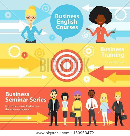 Business training horizontal banners set with people visiting english courses and business seminars flat vector illustration