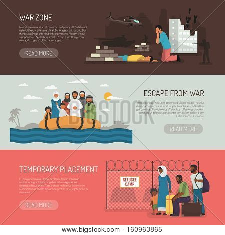 Horizontal immigration banners set of temporary placement and war zone compositions flat isolated vector illustration