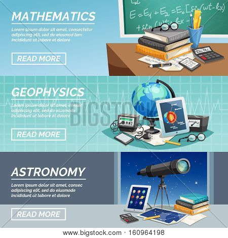 Education horizontal banners with various school and university subjects and accessories isolated vector illustration