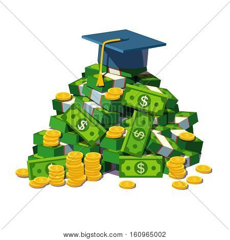 Student hat - mortar board lying on a big pile of money. Metaphor for price and benefits of high education. Flat style modern vector illustration isolated on white background.