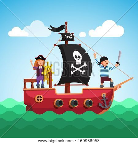 Kids pirate ship with boy and girl captain at the helm sailing in the sea with black flag and sail decorated with scull and crossed bones. Flat style vector cartoon illustration.