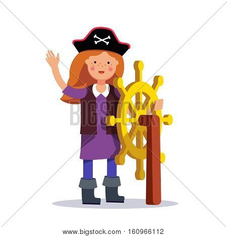 Kids pirate girl captain standing at the helm. Steering wheel. Flat style modern vector illustration isolated on white background.