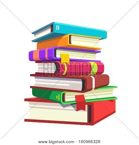 Pile of hardcover books. Stack of literature in colorful covers. Flat style modern vector illustration isolated on white background.