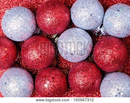 Christmas And New Year Decorations On Glitter Background