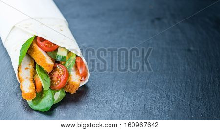Chicken Wraps (selective Focus) On A Slate Slab