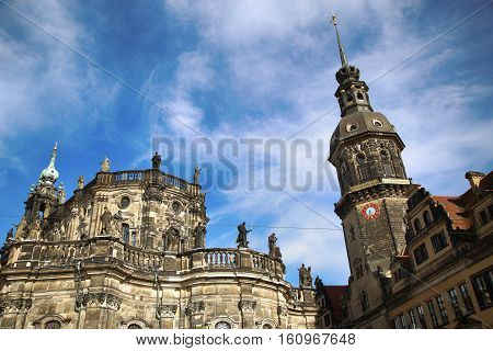 Saxony Dresden Castle and Katholische Hofkirche in Dresden State of Saxony Germany