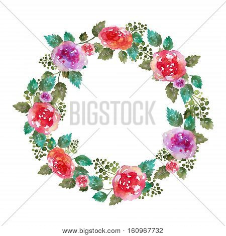 Vector Vintage floral wreath wedding frame with rose flowers and leaf. Greeting card. Hand-drawn watercolor elements.Decoration illustration . Pink, red. green on white background. Famale