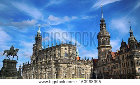 Theaterplatz Saxony Dresden Castle and Katholische Hofkirche in Dresden State of Saxony Germany