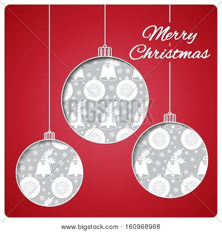 Christmas card with balls cut from paper. Bright classic red top layer and silver seamless pattern below. Design of the bells, balls and snowflakes on the bottom layer. Vector illustration.