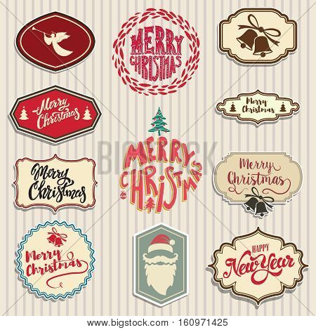 christmas emblems set. Santa Claus beard, angel, bells. Design elements for poster, greeting cards. Vector illustration.