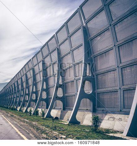wall on bridge of hydro power plant. alternative energy concept.