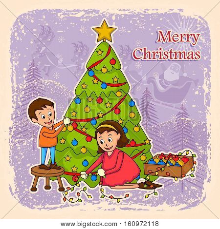vector illustration of kids decorating tree for Merry Christmas