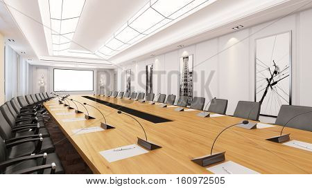 Big conference room with table and chairs with business presentations (3D Rendering)