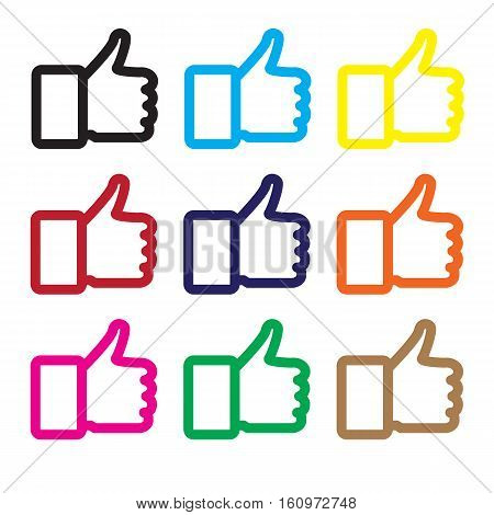 thumb up icon isolated on white background. thumb up sign.