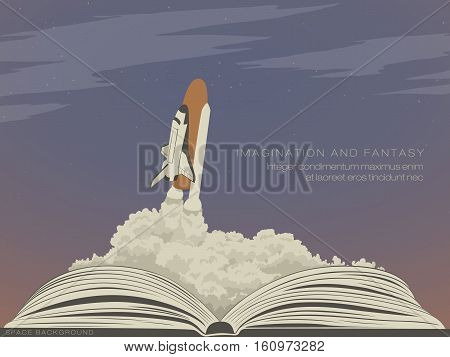 imagination literature, flying spaceship from an open book
