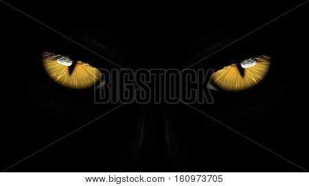 yellow eyes black Panther on dark background