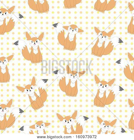 Seamless background of autumn illustration with cute fennec fox on polka dot background suitable for kid scrap paper, wallpaper and postcard
