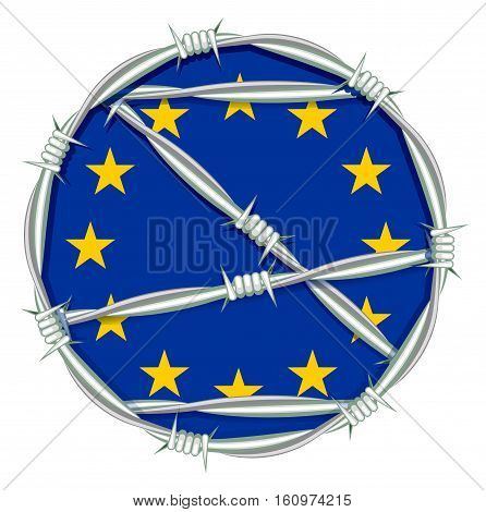 Yellow stars on blue background symbol of European Union behind barbed wire. Migration problem. Illustration in vector format