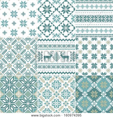 Set of traditional Christmas patterns in scandinavian style