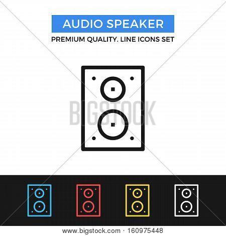 Vector audio speaker icon. Studio monitors concept. Premium quality graphic design. Modern signs, outline symbols, simple thin line icons set for websites, web design, mobile app, infographics
