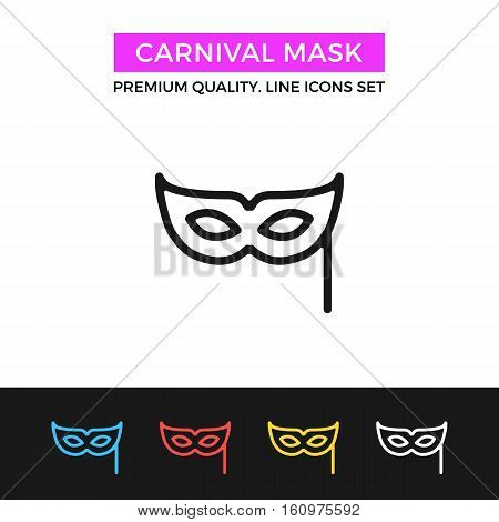 Vector carnival mask icon. Party, masquerade concepts. Premium quality graphic design. Modern signs, symbols collection, simple thin line icons set for websites, web design, mobile app, infographics