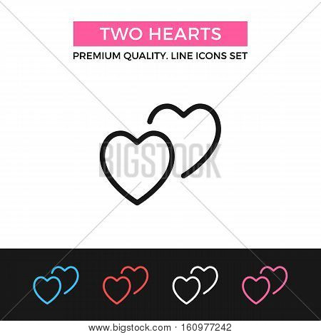 Vector two hearts icon. Love, romantic relationships concept. Premium quality graphic design. Modern signs, outline symbol, simple thin line icons set for website, web design, mobile app, infographics