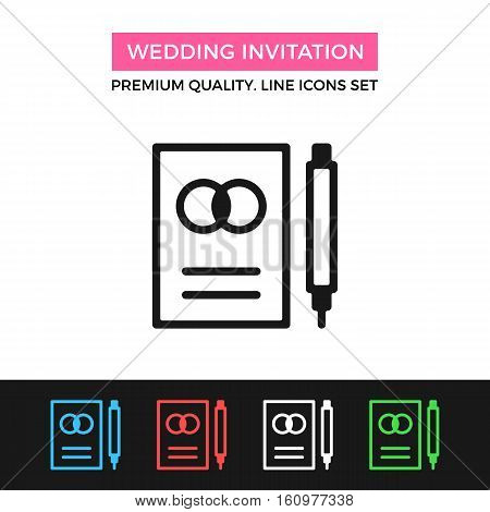 Vector wedding invitation icon. Premium quality graphic design. Modern signs, outline symbols collection, simple thin line icons set for websites, web design, mobile app, infographics