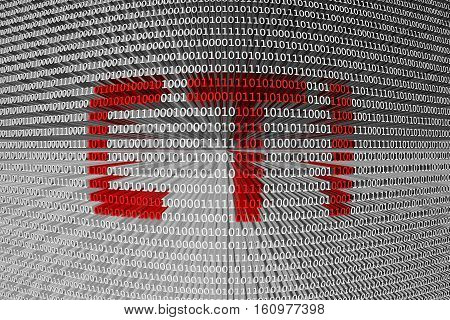 CTI is presented in the form of binary code 3d illustration