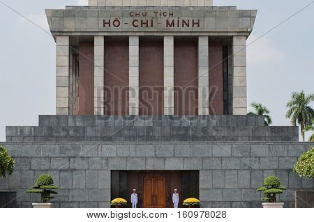 Vietnam, Hanoi - October 21, 2016: Ho chi minh mausoleum Ba Dinh place in the centre of Hanoi