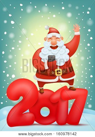 new year invitation card template with santa claus making photo Vector illustration