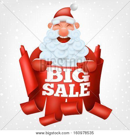 Santa claus funny character holding big sale banner. Vector Illustration