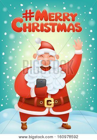 Crazy santa claus cartoon character making selphie Hashtag merry christmas Vector Illustration