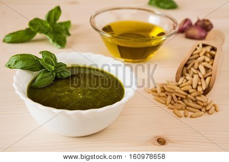 Closeup of pesto genovese sauce on a table