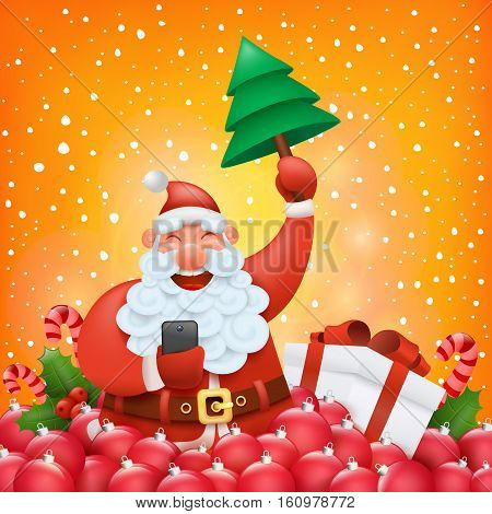 Christmas card template with funny santa claus character making photo Vector illustration