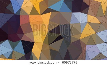 Low Poly pattern of irregular colorful triangles in blue and yellow shades with gradiented strokes. Vector illustration