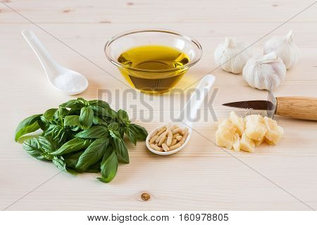 Ingredients for pesto genovese sauce on a table