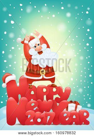 Happy new year 2017 invitation card with santa claus character making hard rock sign Vector illustration