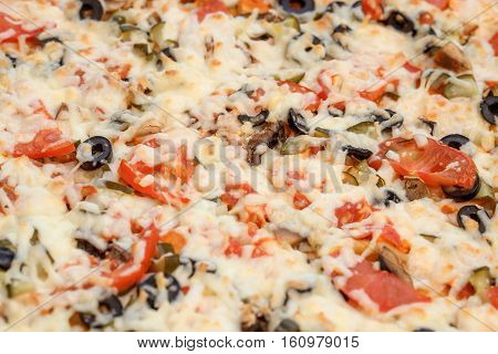 Background of cheeze pizza with tomatoes, closeup