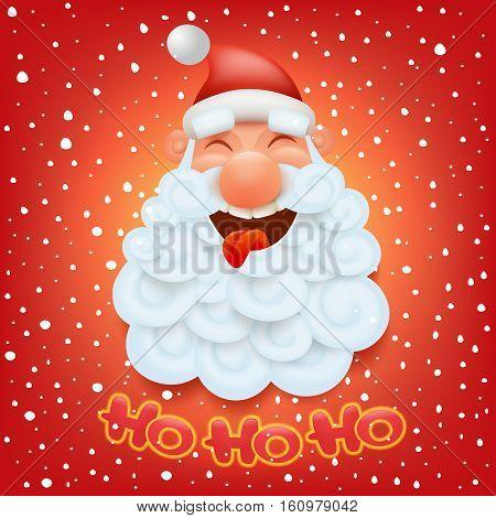 Christmas card template with santa claus head. Ho ho ho title. Vector Illustration
