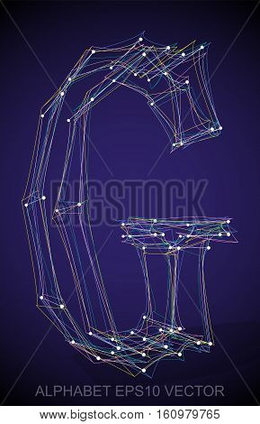 Abstract illustration of a Multicolor sketched G with Transparent Shadow. Hand drawn 3D G for your design. EPS 10 vector illustration.