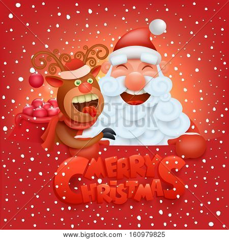 Invitation christmas card with funny santa claus and reindeer characters Vector illustration