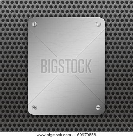Techno vector illustration. Perforated Metal Background with plate and rivets. Metallic grunge texture. Brushed Steel iron aluminum surface. Abstract gray template. Engineering construction theme