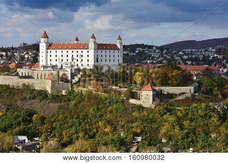 Bratislava castle in capital city of Slovak republic. Architectural theme. Cultural heritage. Travel destination.