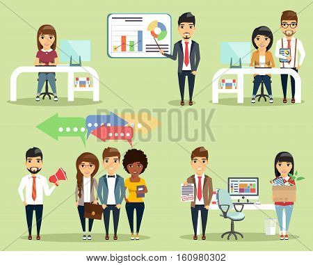 A set of concepts of office life. Young businessmen. Everyone knows his task. Happy people