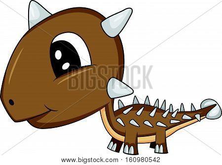 Illustration of Cute Cartoon Baby Ankylosaurus Dinosaur. Vector EPS 8.